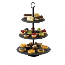 Slate Round 3 Tier Plate Cake Stand with Iron Frame